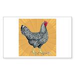Dominique Chicken Hen Rectangle Sticker 50 pk)