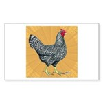 Dominique Chicken Hen Rectangle Sticker 10 pk)