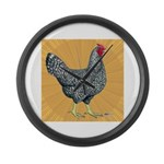 Dominique Chicken Hen Large Wall Clock