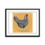 Dominique Chicken Hen Framed Panel Print