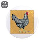 """Dominique Chicken Hen 3.5"""" Button (10 pack)"""
