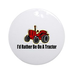 Funny Tractor Ornament (Round)