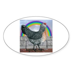 Rainbow Ameraucana Hen Oval Decal