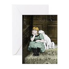 Dog adoring girl Greeting Cards (Pk of 10)