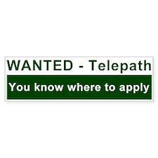 """""""Wanted Telepath"""" Bumper Bumper Sticker"""