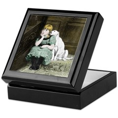 Dog adoring girl Keepsake Keepsake Box