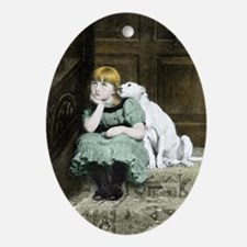 Dog adoring girl Oval Ornament