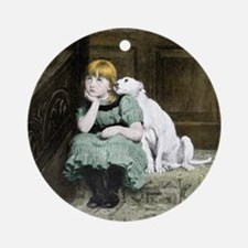 Dog adoring girl Ornament (Round)