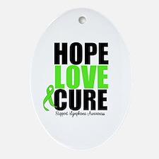 Lymphoma Hope Love Cure Oval Ornament