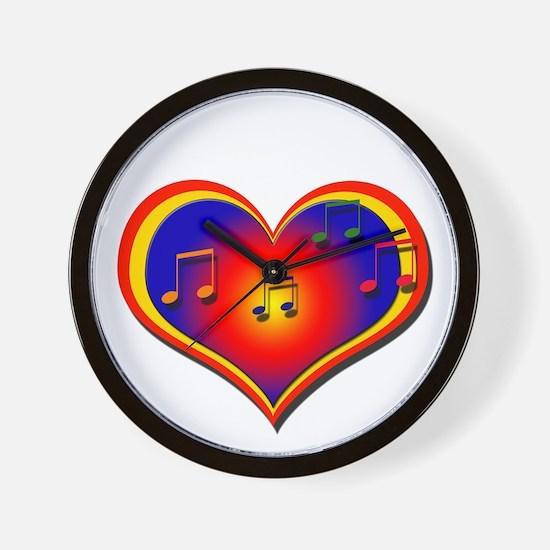 Musical Heart Glow - Wall Clock