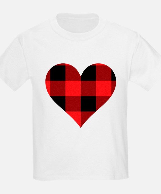 Red PLaid Hear T-Shirt