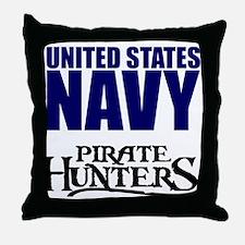 Navy Pirate Hunters Throw Pillow