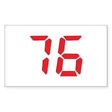 76 seventy-six red alarm cloc Rectangle Decal