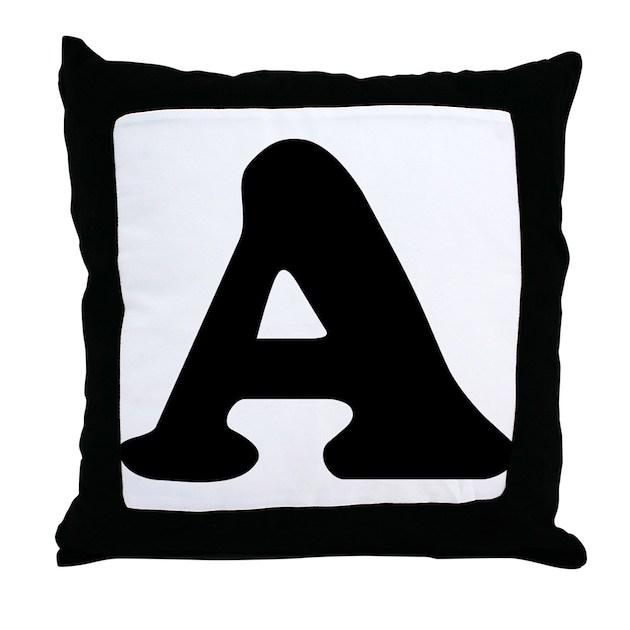 Letter A Throw Pillow : Large Letter A Throw Pillow by alphabetgear