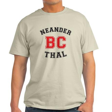 Light T-Shirt Neanderthal BC Varsity Logo - Red on