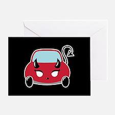 Cute Devil Car Greeting Card