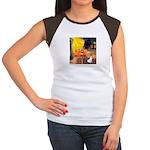 Cafe / Rat Terrier Women's Cap Sleeve T-Shirt