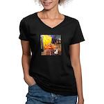 Cafe / Rat Terrier Women's V-Neck Dark T-Shirt