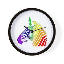 Rainbow Zebra Wall Clock