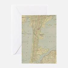 Vintage Map of Bayonne NJ (1912) Greeting Cards