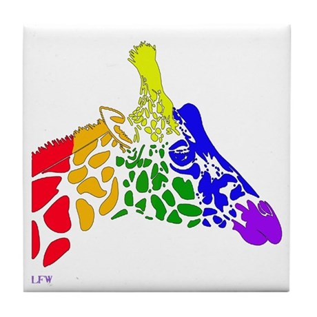 Rainbow Giraffe Tile Coaster