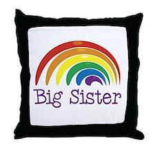 Big Sister Rainbow Throw Pillow
