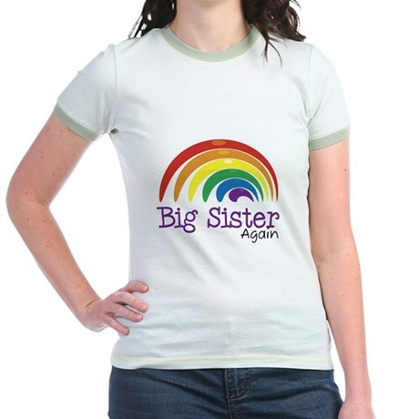 Big Sister Again Rainbow Jr. Ringer T-Shirt