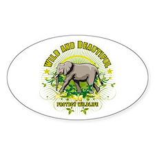 Wild Elephant Oval Decal