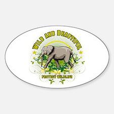 Wild Elephant Oval Sticker (50 pk)