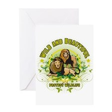 Wild Lions Greeting Card