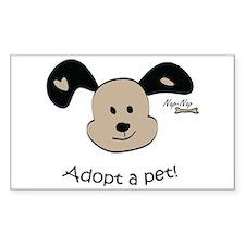Adopt a Pet! Cute Puppy Design Rectangle Decal