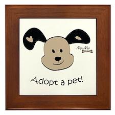 Adopt a Pet! Cute Puppy Design Framed Tile