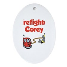 Firefighter Corey Oval Ornament