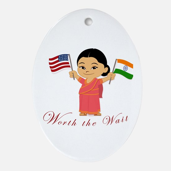 worth the wait adoption India Oval Ornament