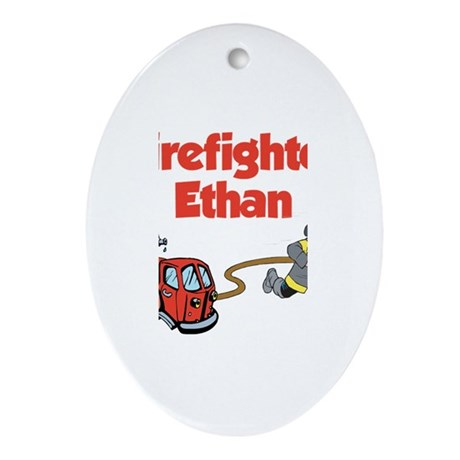 Firefighter Ethan Oval Ornament