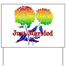 Rainbow Flower Marriage Yard Sign