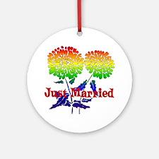 Rainbow Flower Marriage Ornament (Round)