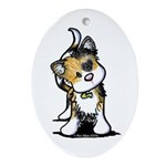 Cupid Calico Kitten Oval Ornament