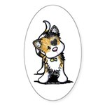 Cupid Calico Kitten Oval Sticker (10 pk)