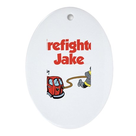 Firefighter Jake Oval Ornament