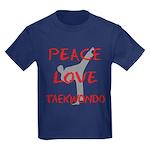 Peace Love Taekwondo Kids Dark T-Shirt