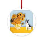 Sunflowers / Rat Terrier Ornament (Round)