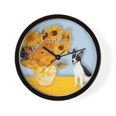 Sunflowers / Rat Terrier Wall Clock
