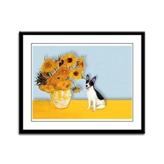Sunflowers / Rat Terrier Framed Panel Print