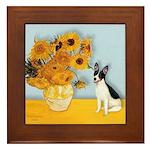 Sunflowers / Rat Terrier Framed Tile