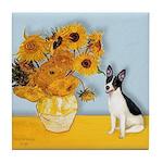 Sunflowers / Rat Terrier Tile Coaster