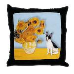Sunflowers / Rat Terrier Throw Pillow