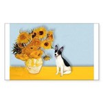 Sunflowers / Rat Terrier Sticker (Rectangle 10 pk)