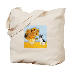 Sunflowers / Rat Terrier Tote Bag