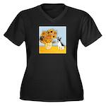 Sunflowers / Rat Terrier Women's Plus Size V-Neck